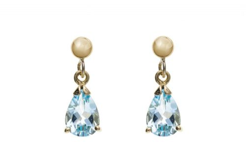 9 Carat Yellow Gold Blue Topaz Drop Earrings AP0939